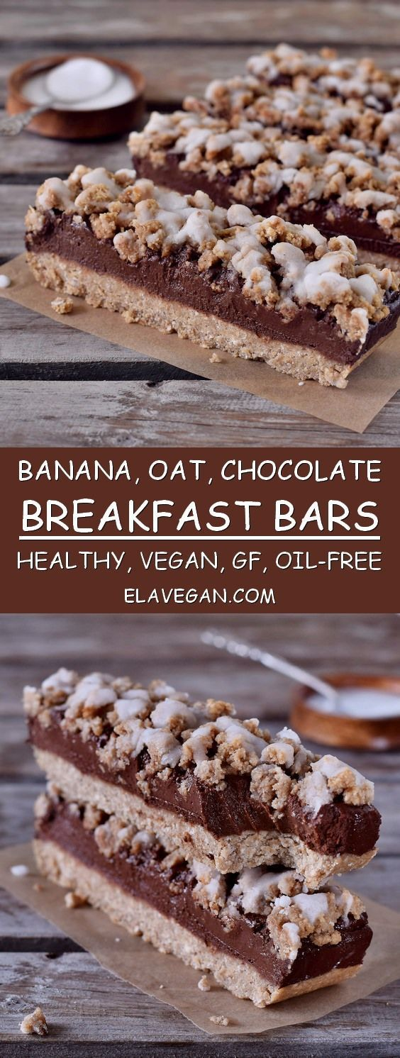 These oat breakfast bars are vegan, gluten-free and easy to make. If you need a healthy inspiration for breakfast then check out this delicious recipe. These crumb bars contain mainly oats, bananas, and dates #vegetarianrecipes