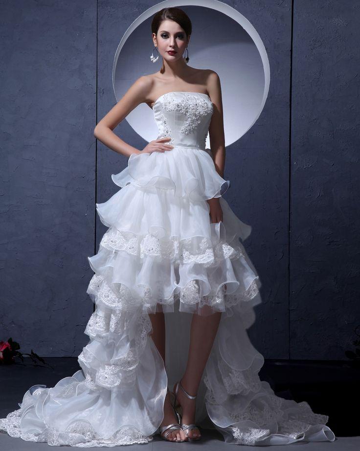 Brautkleider Spitze Weiß Vorne Kurz Hinten Lang Hochzeitskleider Mit Schleppe