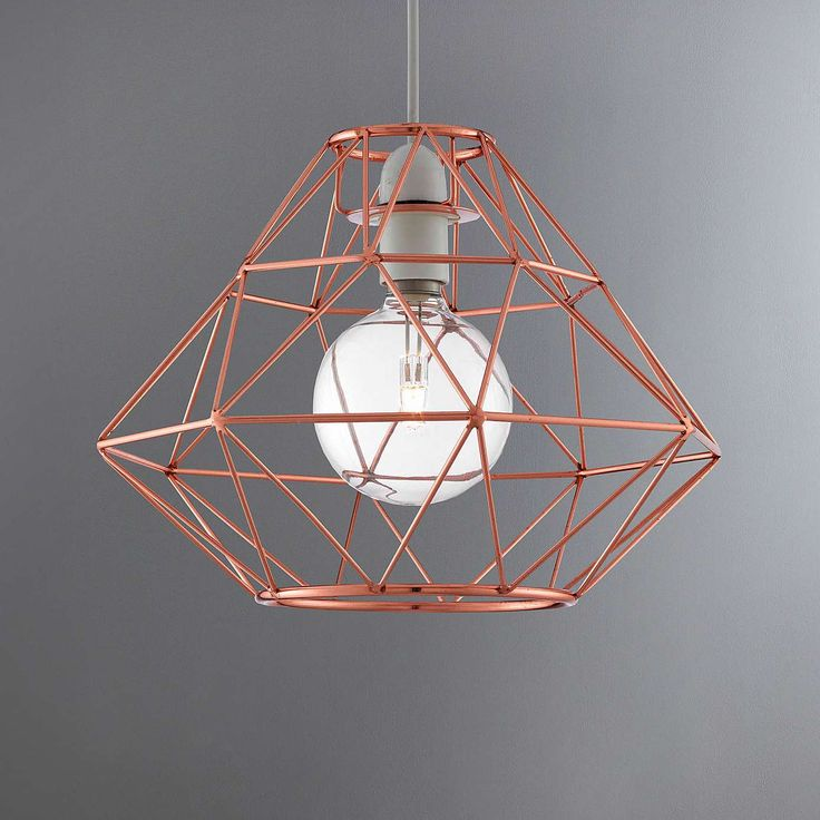 Crafted With A Unique Contemporary Style, This Ceiling Pendant Features A  Skeletal Copper Strip Design In A Faceted Shape. Letting Plenty Of Light  Shine ...