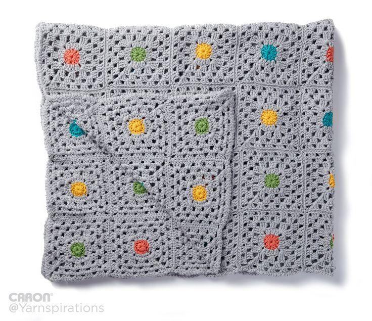 Pin Point Crochet Blanket - Patterns    Yarnspirations   Free Pattern   Caron One Pound   Gray Matters