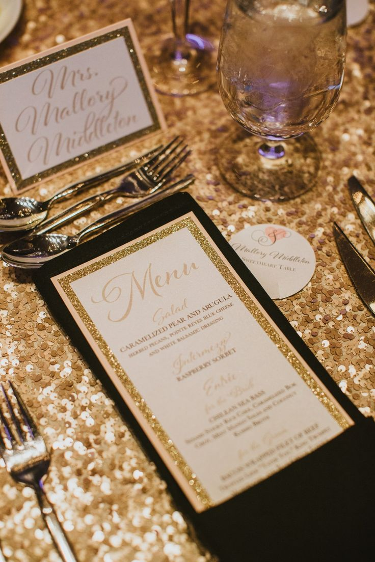 The stationary was GORGEOUS. #beautiful #calligraphy #dinner #menu #placecard #champagne #cards #reception #justmarried #weddingplanner #white #gold #glitter #linen #elegant #glam #MalloryandRJ #ALWE #spring #Arizona #SanctuaryonCamelbackMountainResort #andrealeslieweddings // Planning & Coordinating - Andrea Leslie Weddings & Events // Photography - Jane in the Woods, AZ // Venue - Sanctuary on Camelback Mountain Resort, AZ // Stationary - Vee Creative, AZ // Linen - La Tavola Fine Linen //