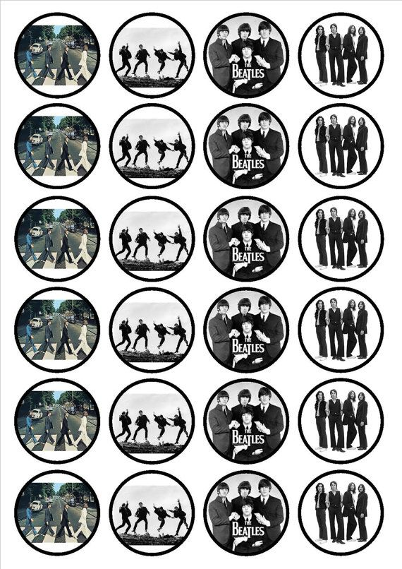 The Beatles 24 x 4.5cm Edible Premium Sweetened Vanilla Wafer/Rice Paper Cupcake Decorations/Toppers. The ZomBeatles -- A Hard Day's Night of the Living Dead! Halloween Party Decorations & Ideas