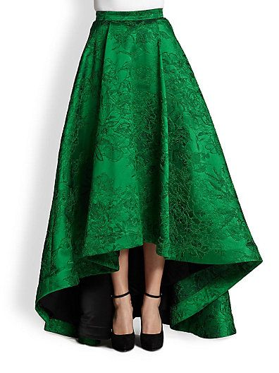 Alice + Olivia - Cohe Embroidered Hi-Lo Long Skirt - Saks.com