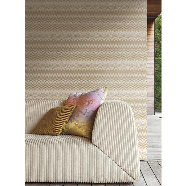 Zig Zag Multicolore Wallpaper in Cream, Tan, and Gold by Missoni Home... ($62) ❤ liked on Polyvore featuring home, home decor, wallpaper, multi coloured wallpaper, taupe wallpaper, friends wallpaper, chevron removable wallpaper and metallic wallpaper