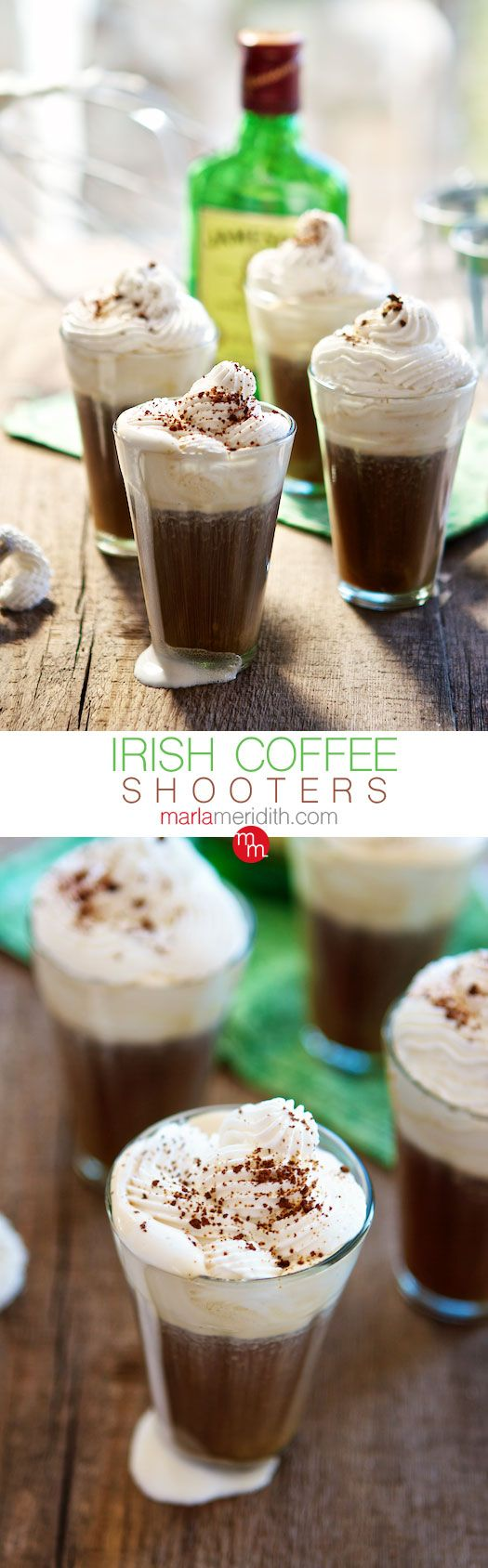 Irish Coffee Shooters (Hot or Iced) | Cocktail Recipe on MarlaMeridith.com