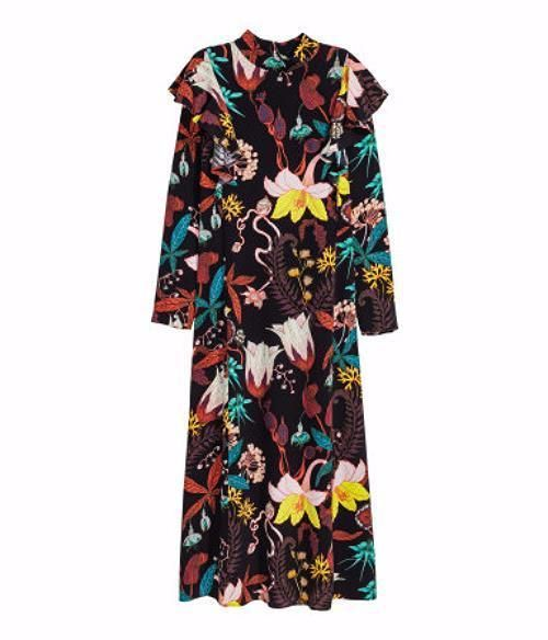 New H&M Conscious Pattered Dress Floral Long Maxi Sheer Ruffle Sold Out #HMConscious #Maxi