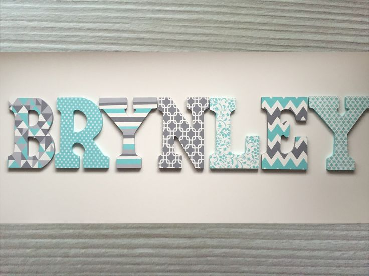 Custom Hand Painted Letters Wooden Wall Hanging Modern Design Chevron Flowers Grey Aqua Mint Gift Baby Child Name Nursery Girl - BRYNLEY by PaintedLettersCA on Etsy https://www.etsy.com/listing/467835098/custom-hand-painted-letters-wooden-wall
