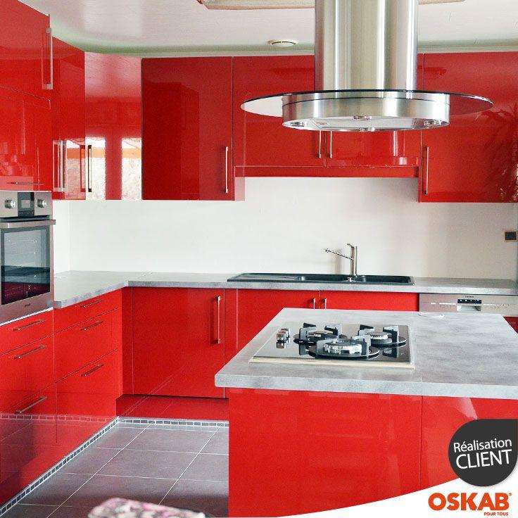 Les 32 meilleures images du tableau avis photos cuisine - Cuisine rouge brillant ...