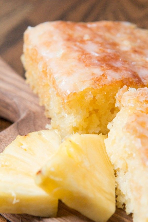 A sweet and extremely moist pineapple cake with a delicious hint of coconut glaze!!