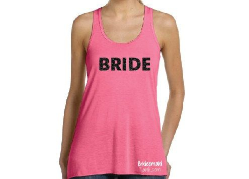 BRIDE BLING Pink Racerback Tank Tops Bride Pink by BridesmaidTank