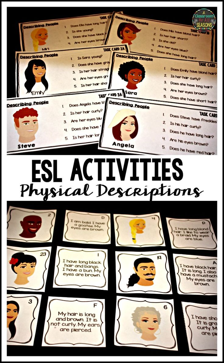 Practice Physical Descriptions with ESL students with these fun activities. These resources include speaking, listening and reading practice. Includes task cards and a matching game.
