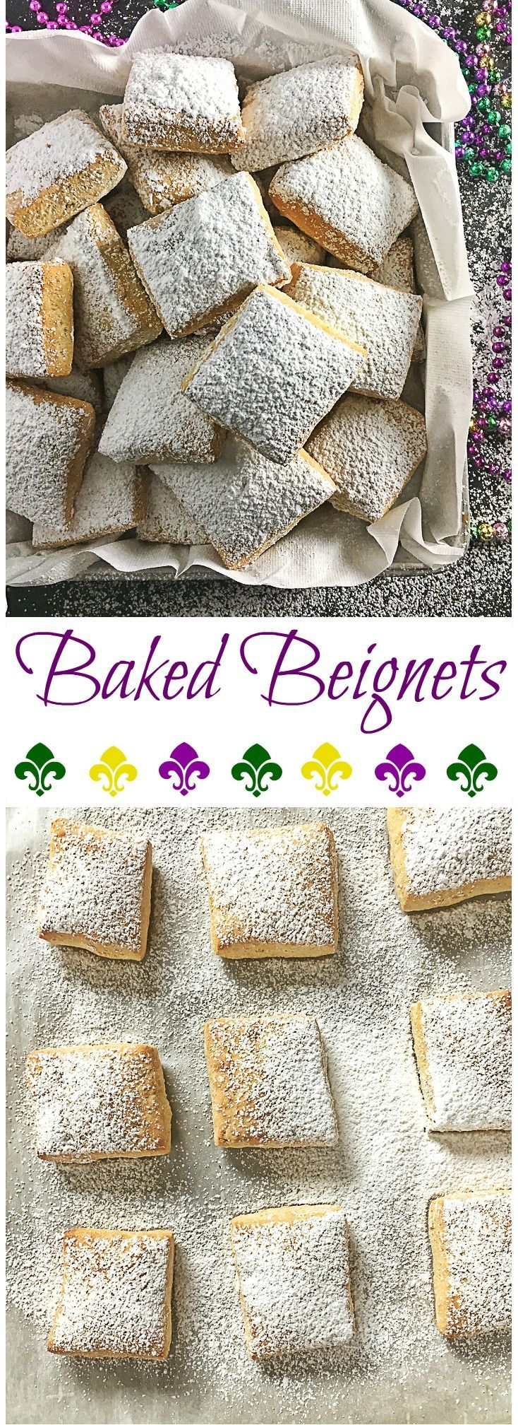Try this healthier version of a Mardi Gras classic: Baked Beignets! Recipe at http://Teaspoonofspice.com