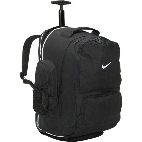 Nike Accessories Swoosh Rolling Laptop Backpack (Black) - Micro ripstop swoosh rolling backpack with internal laptop compartment.  - http://ehowsuperstore.com/bestbrandsales/computers-accessories/nike-accessories-swoosh-rolling-laptop-backpack-black