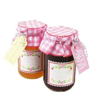 Floral and Gingham Jar Label Kit: If you're jarring homemade jam for guests to take home, make the presentation extra sweet. This kit includes two dozen gingham paper jar covers, labels, gift tags, and ribbon.