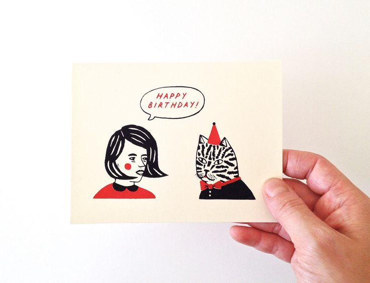 BIRTHDAY BUDDIES - Screen Printed Greeting Card by triangletrees on Etsy https://www.etsy.com/listing/174525521/birthday-buddies-screen-printed-greeting