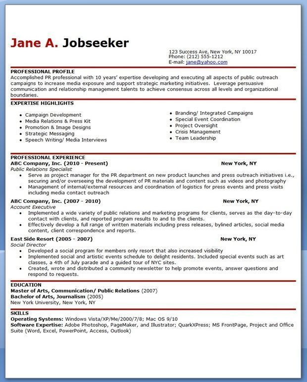 Sample Resume For Public Relations Officer Publicrelationsresume Public Relations Sample Resume Resume Objective Examples