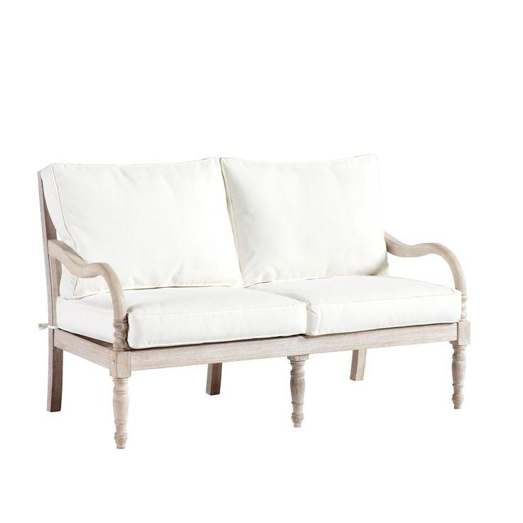 Ceylon Whitewash Loveseat With Cushions Tarantos Sunroom