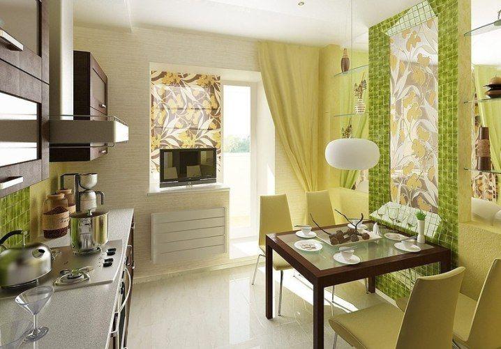 Фото небольшой кухни в зеленых тонах