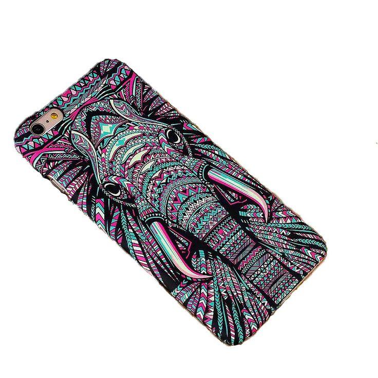 Luminous Embossed Feel Aztec Animal Elephant Chimpanzee Cat Deer Phone Case For Funda Iphones 7 5 5S SE 6s 6Plus 7Plus Capa Para