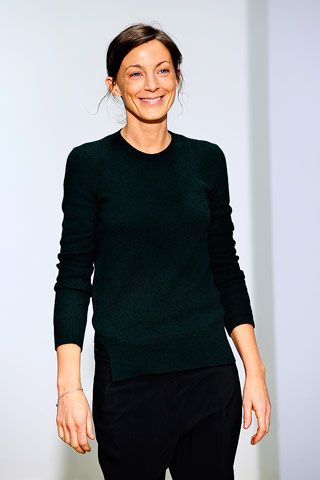 Phoebe Philo in a simple round-necked sweater and black pants.    #phoebephilo #celine #minimalism