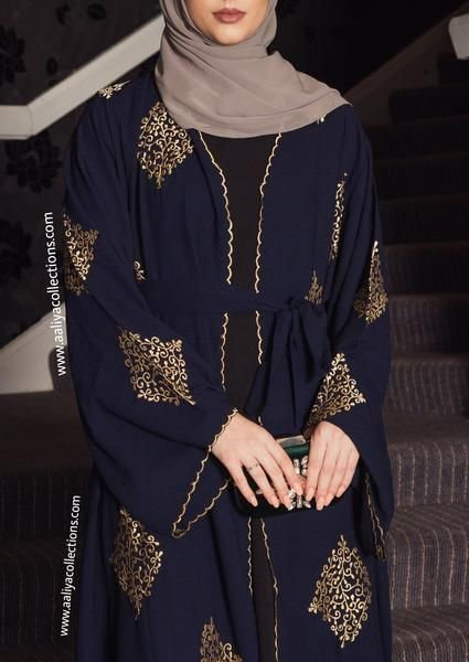 f46bb899ac8 A stunningly beautiful abaya of gold emboidery on contrasting rich navy  fabric. Ideal for special occasions, this beautiful piece has been designed  to add ...
