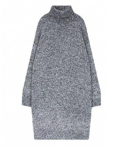 Turtle Neck Heather Grey Knit Dress