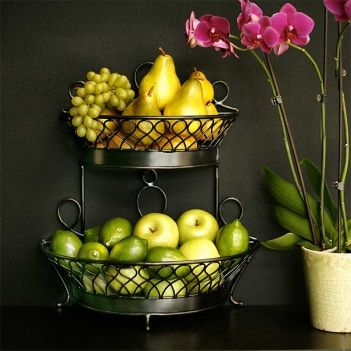 Sawtelle 2 Tiered Basket Crafted Of Wrought Iron And Featuring Two Tiers For Storing