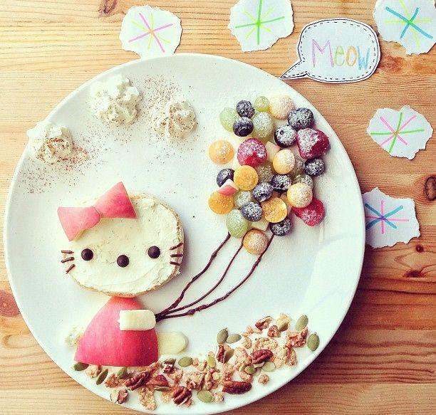 Hello Kitty con i palloncini (idee-per-far-mangiare-verdure-ai-bambini) by Samantha Lee