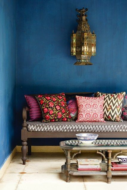 Discover garden room design ideas on HOUSE by House & Garden, including this garden seating area in the Delhi home of Anita Lal, founder of Good Earth. http://www.houseandgarden.co.uk/outdoor-spaces/features/garden-rooms/garden-bench?next