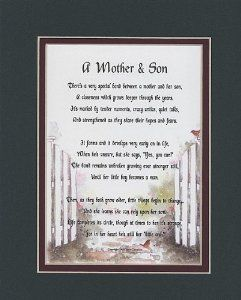 11 95 A Mother Son Touching 8x10 Poem Double Matted In Dark