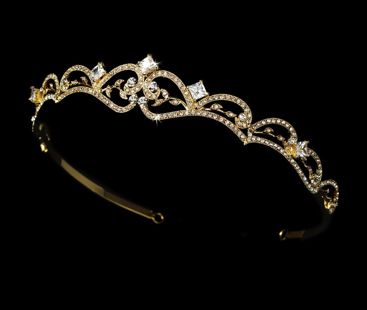 White and Gold Wedding Crown, Bride Tiara. Stunningly Beautiful Golden Tiara