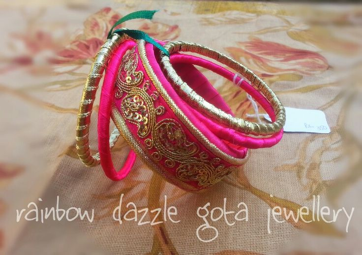 Handmade bangles in pink and gold