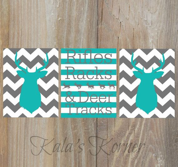Deer nursery art Teal gray chevron nursery   by KalasKorner, $27.00