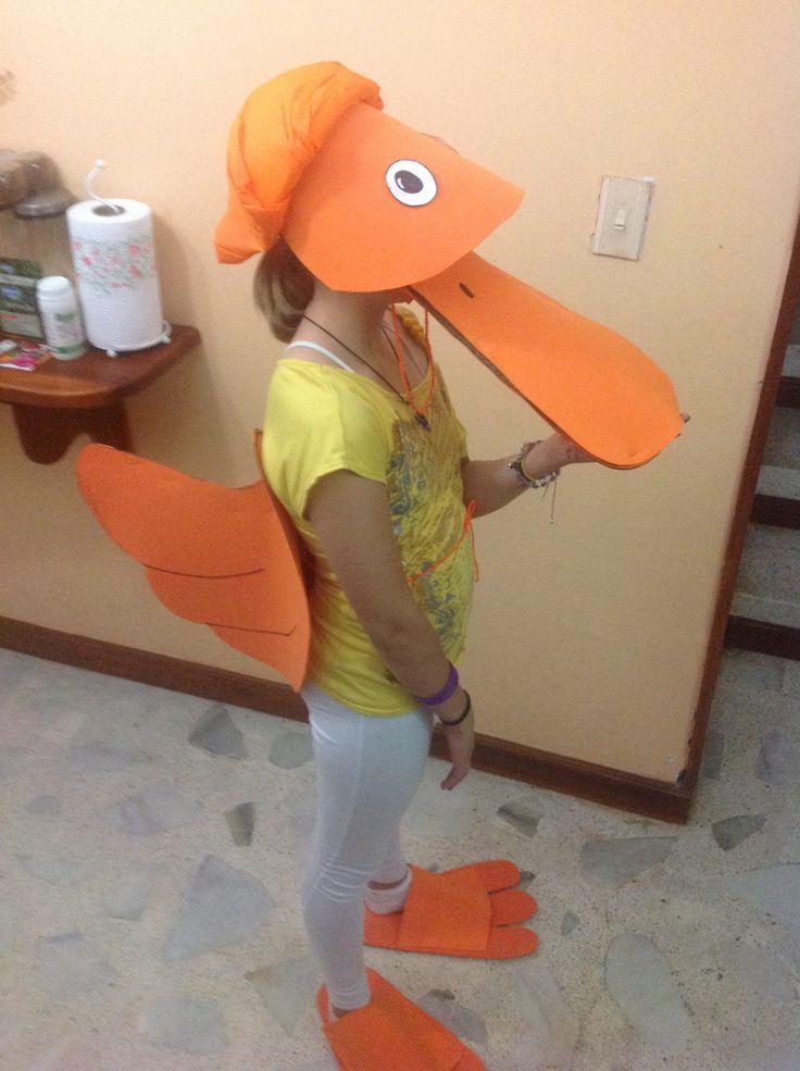 Foam duck costume, beak, tail, and feet!