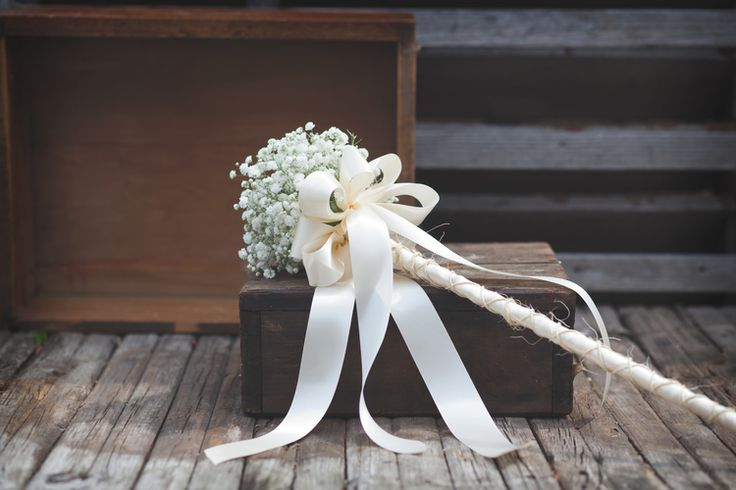flower girl wand-babies breath-wedding-ribbon-rustic chic                                                                                                                                                                                 More