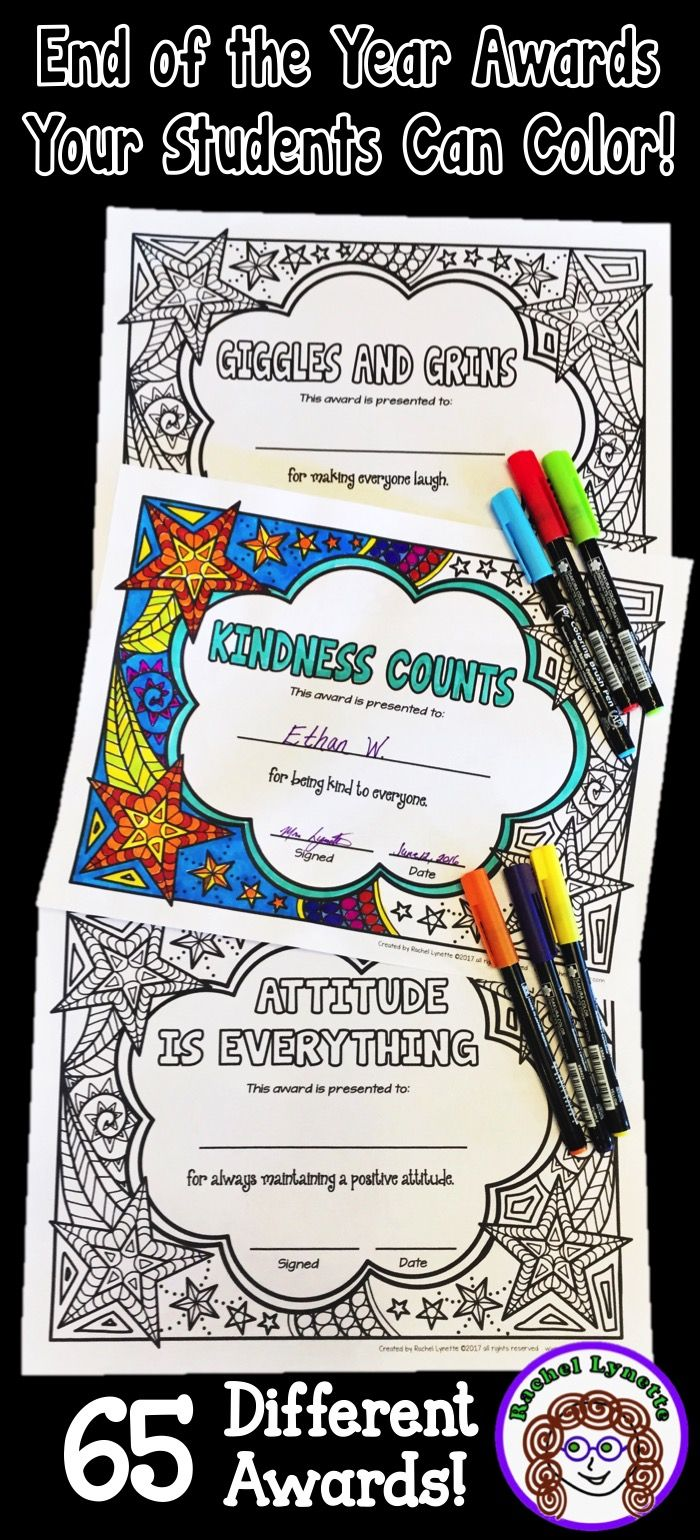 Give your students awards they can color themselves! 65 different awards, plus a template you can edit to create your own. Also available with a simpler frame with bigger spaces to color.