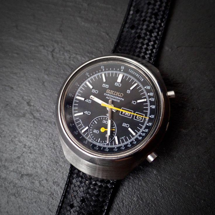 SEIKO Automatic Chronograph HELMET 6139-7101 RARE Black Dial & Date SPACE…