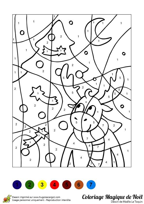Dessin à colorier d'un sapin et d'un renne de Noël - Hugolescargot.com
