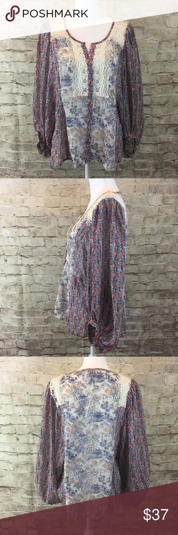 Anthropologie HD in Paris Boho Top Boho long bubbly sleeve top with lace detail on the front. Semi sheer. 100% Polyester Anthropologie Tops Blouses