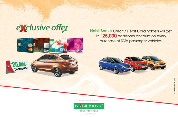 Discount Offer to Nabil Bank Card Holders on purchase of TATA passenger cars.