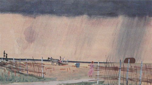 Гроза заходит. Дождь1934 годГрафика33,6x56,5 смКурская картинная галерея имени А.А.Дейнеки