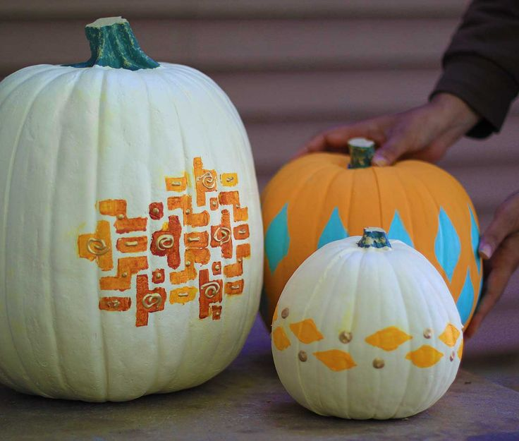 Everyone carves pumpkins for Halloween, so why not try something different? Break out the brushes and paint a fun pattern on your gourds this season. Use stencils to guide your strokes or freehand your design for a unique touch.