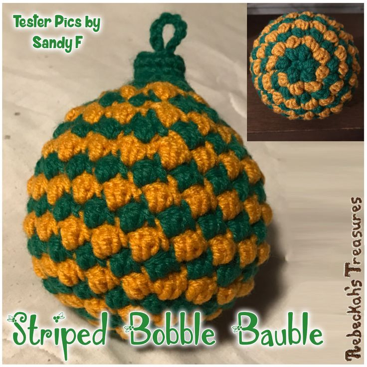 Crochet Pattern Testers : Striped Bobble Bauble Crochet Pattern by @beckastreasures ...