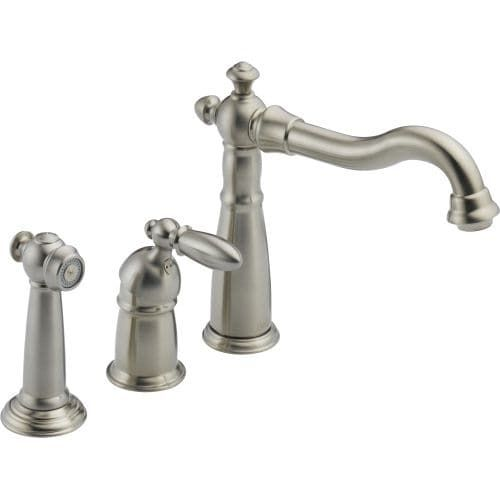 Delta 155-DST Victorian Kitchen Faucet with Side Spray - Includes Lifetime Warranty (Stainless Steel (Silver) Finish)
