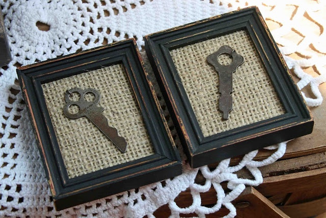 Old keys on burlap, framed in an old wooden frame....this is unique; i like it....