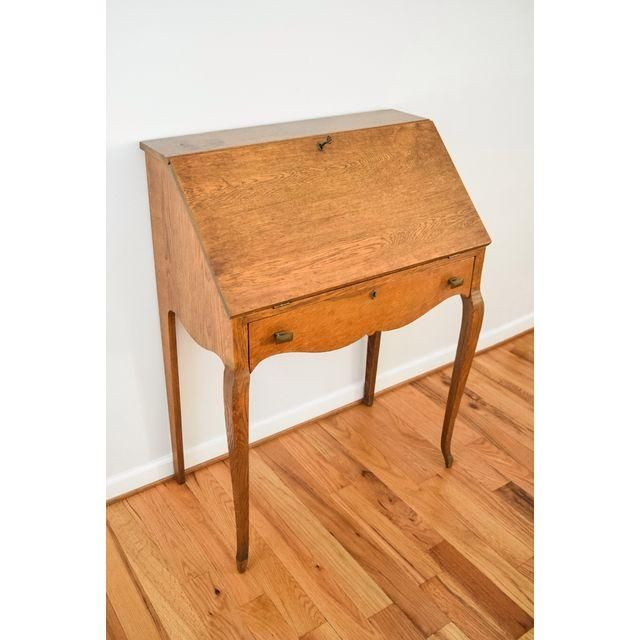 Image of Antique Oak Secretary Writing Desk