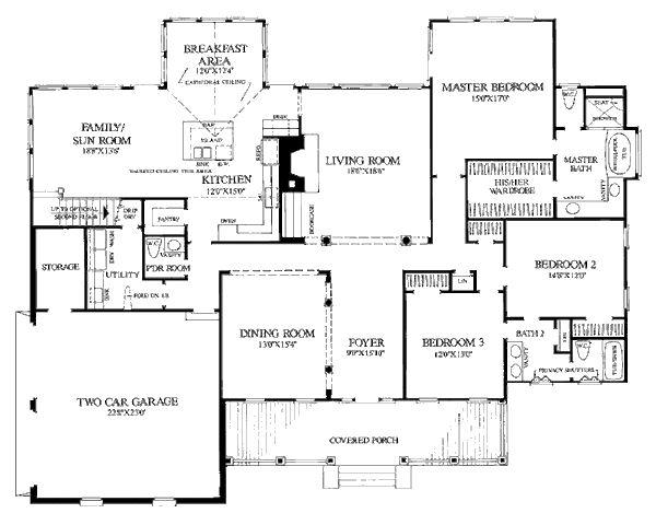 Country Style House Plan - 3 Beds 2 Baths 2777 Sq/Ft Plan #137-156 Floor Plan - Main Floor Plan - Houseplans.com