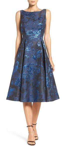 Aidan Mattox Metallic Midi Dress