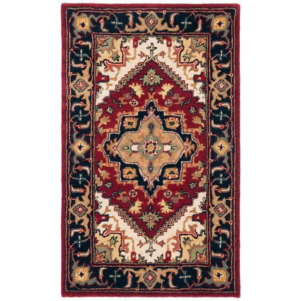 Balthrop Hand Tufted Wool Red Area Rug Reviews Birch Lane Black Rug Area Rugs Black Area Rugs