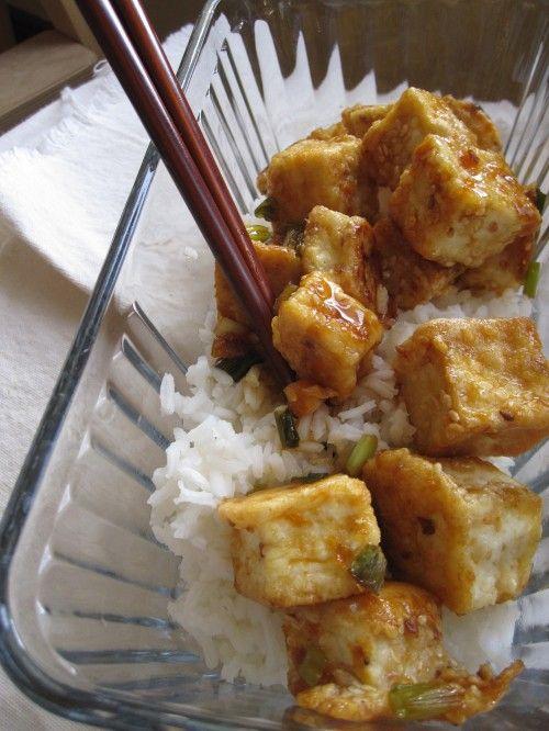 Best Tofu recipe ever: Sesame Orange Tofu with rice - this actually uses reasonable ingredients too!